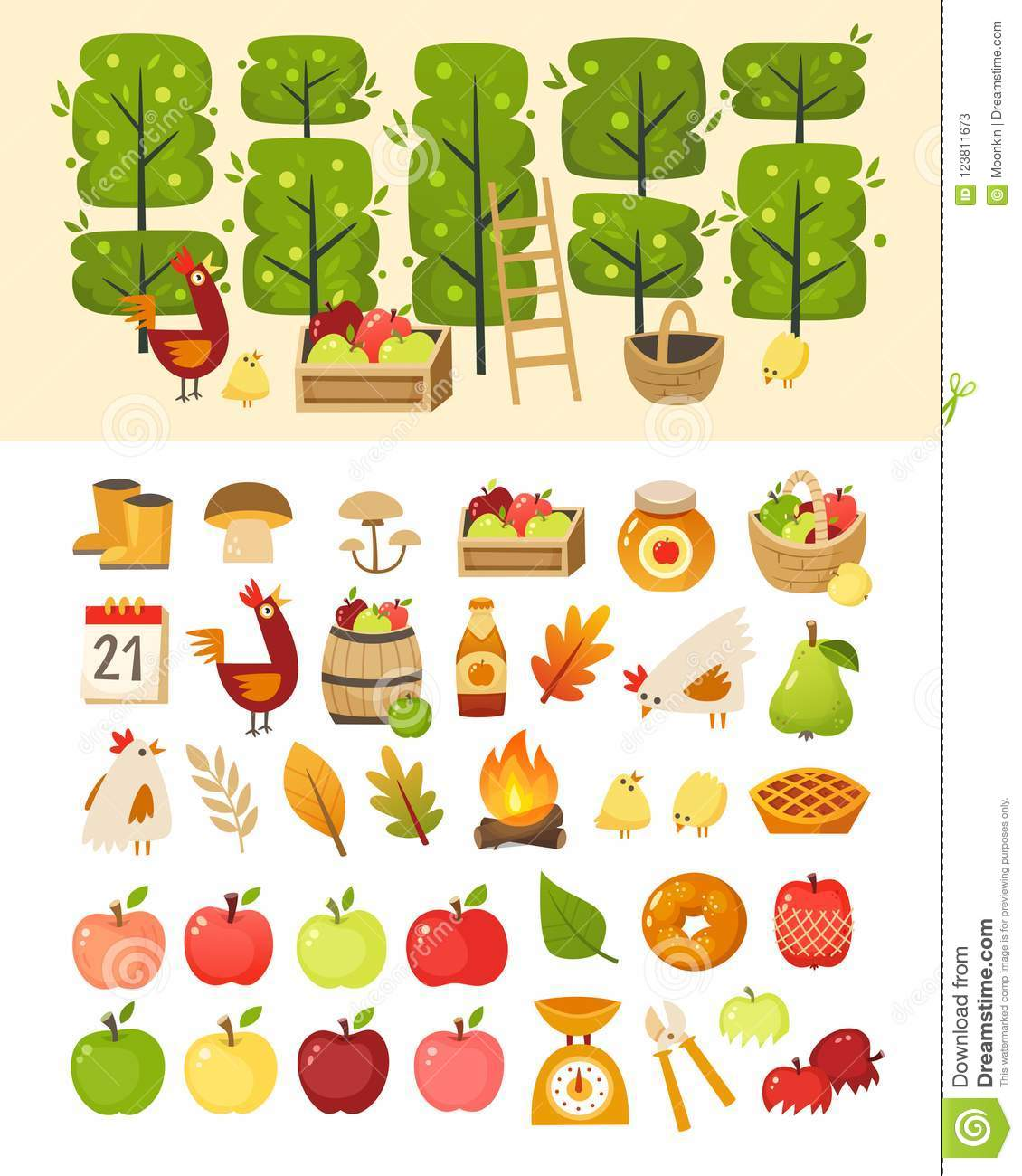 A scene with apple garden trees and elements in front of it. Plus icons of various apple theme items, foods and containers.