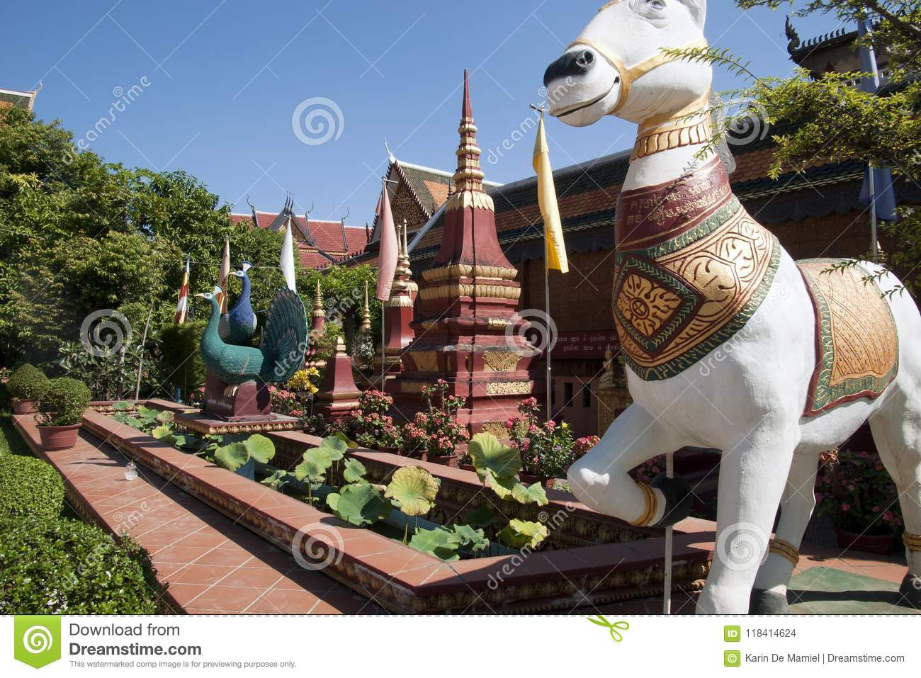 Statue Of Horse And Peacock In Garden At The 14th Century Wat Preah Prom  Rath