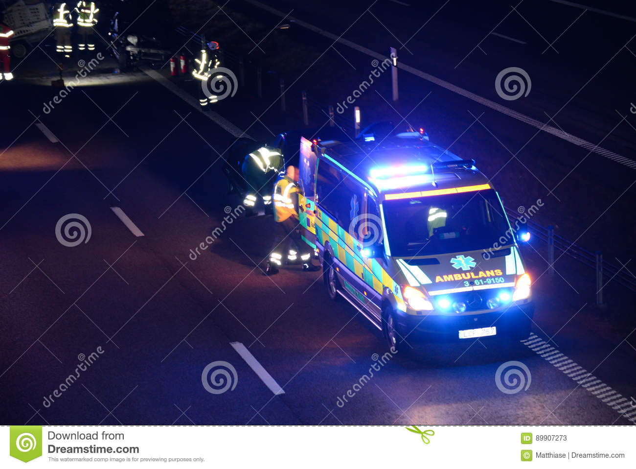 Scene of car accident stock image  Image of lights, wreck