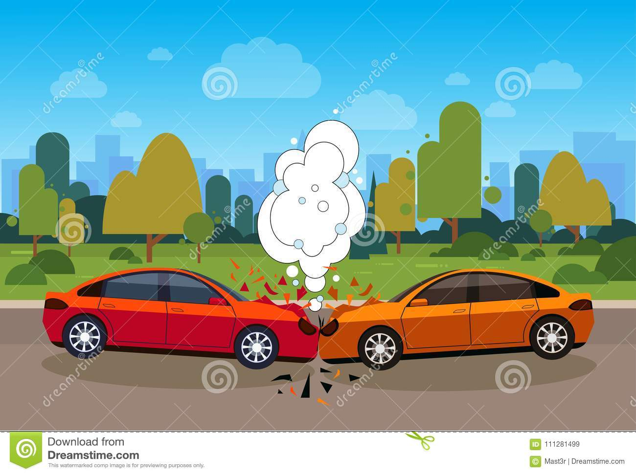 Scene Of Car Accident Danger On Road Concept Stock Vector ...