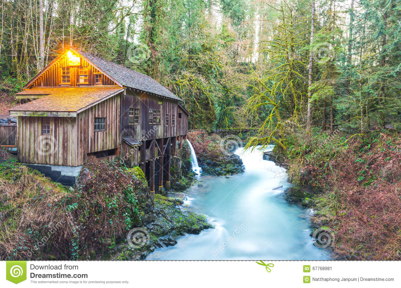Scene of the cedar creek grist mill in the morning for Ceader creek