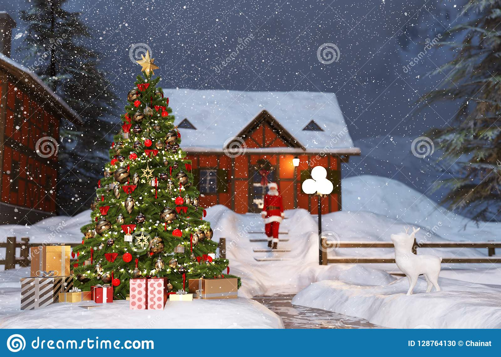 Scene Of Christmas Tree In Winter Village Stock Illustration Illustration Of Magic Ball 128764130
