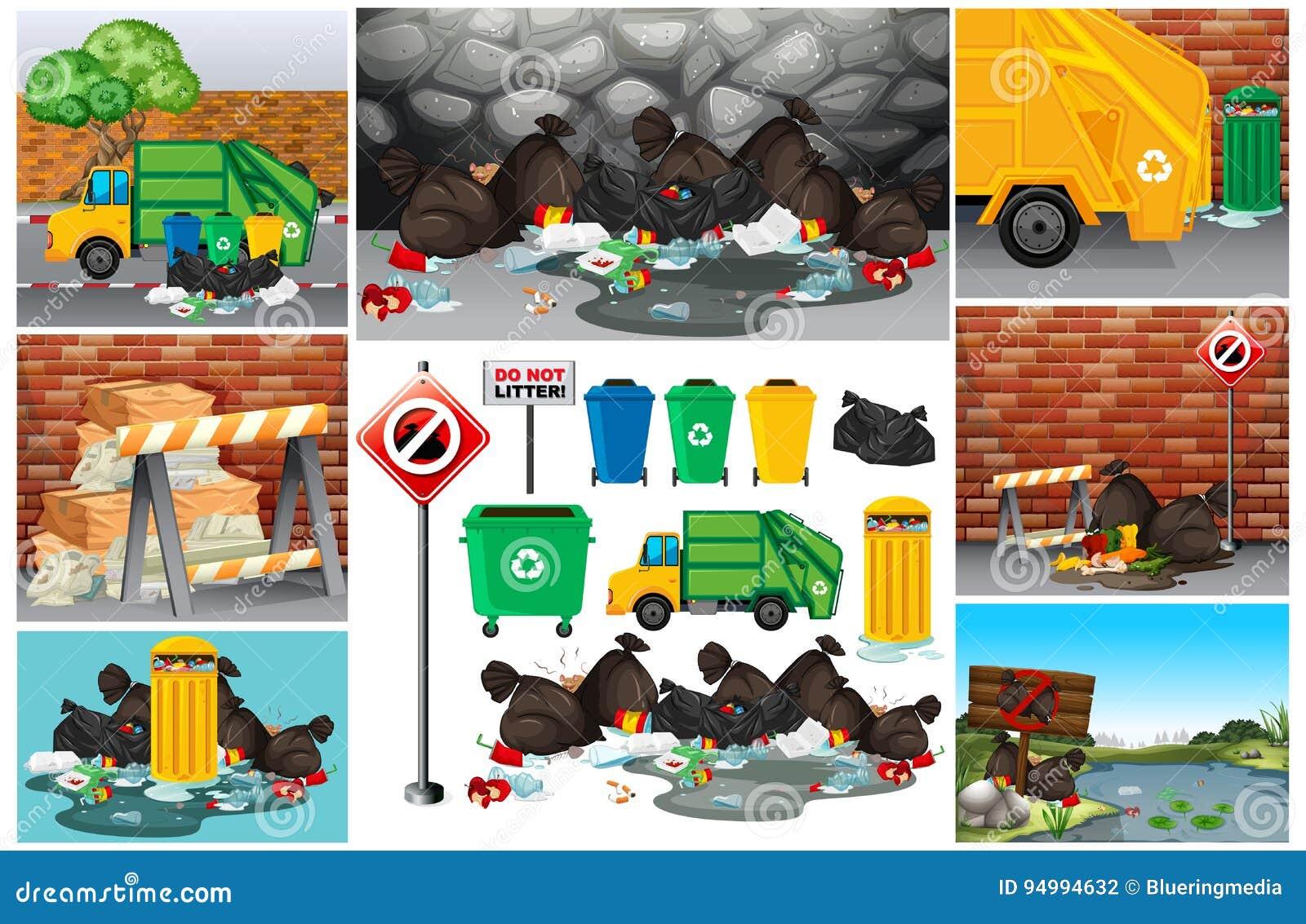 Scene con rifiuti sporchi sulla strada