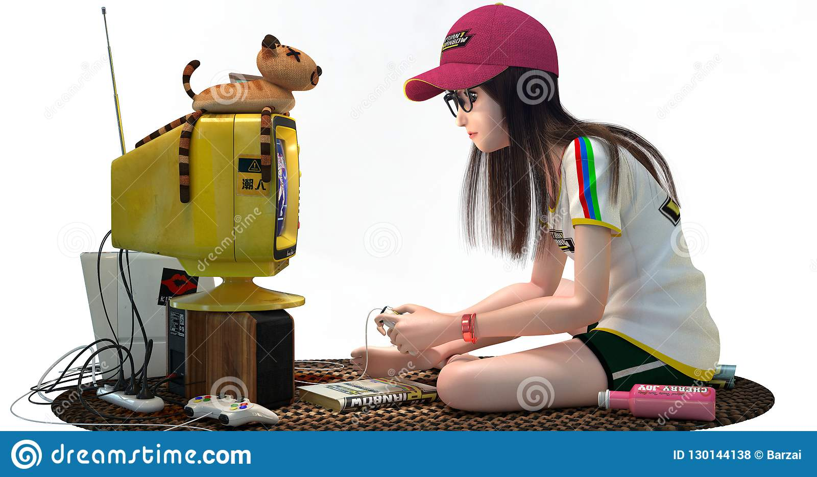 Scene with a geek girl playing video games.