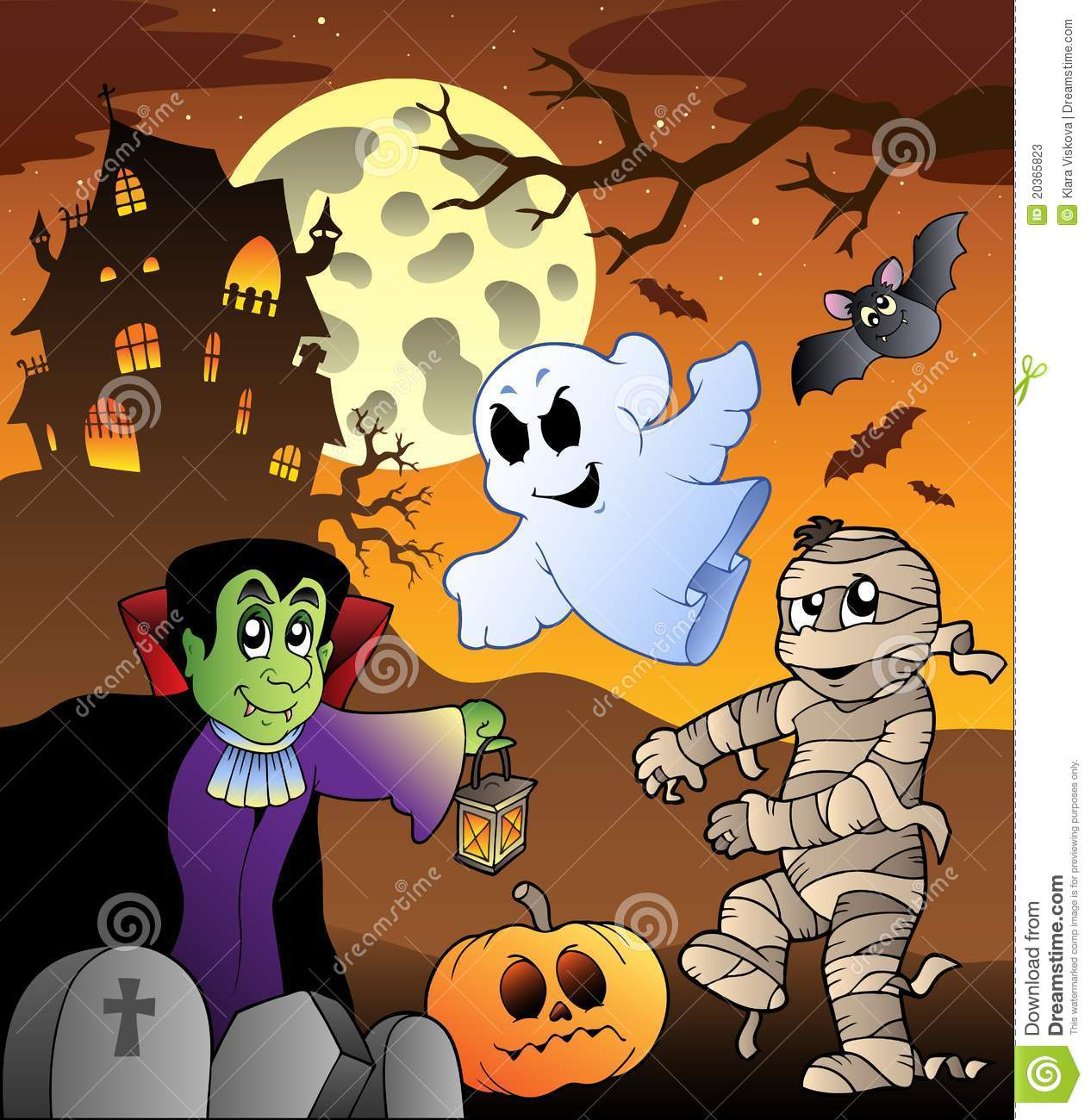 Scene with haunted house 1 stock