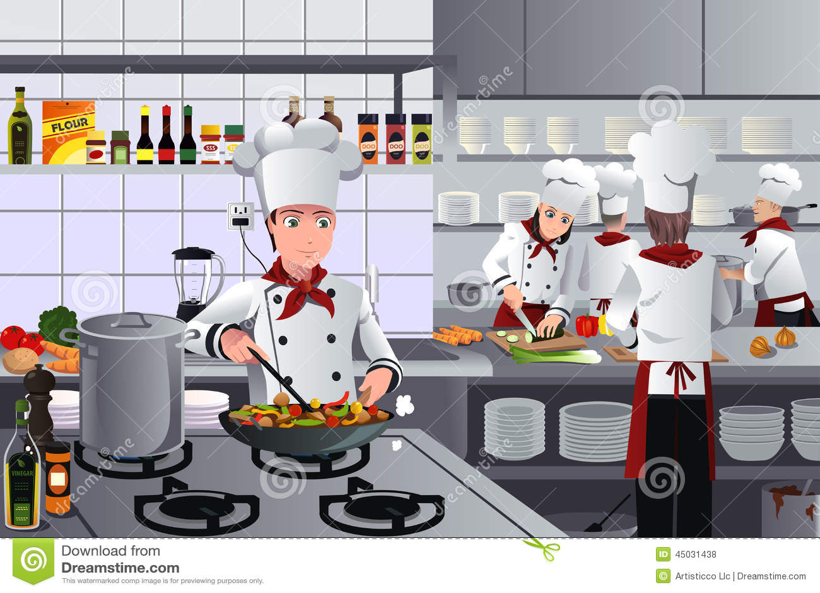 Scene Inside Restaurant Kitchen Stock Vector - Image: 45031438