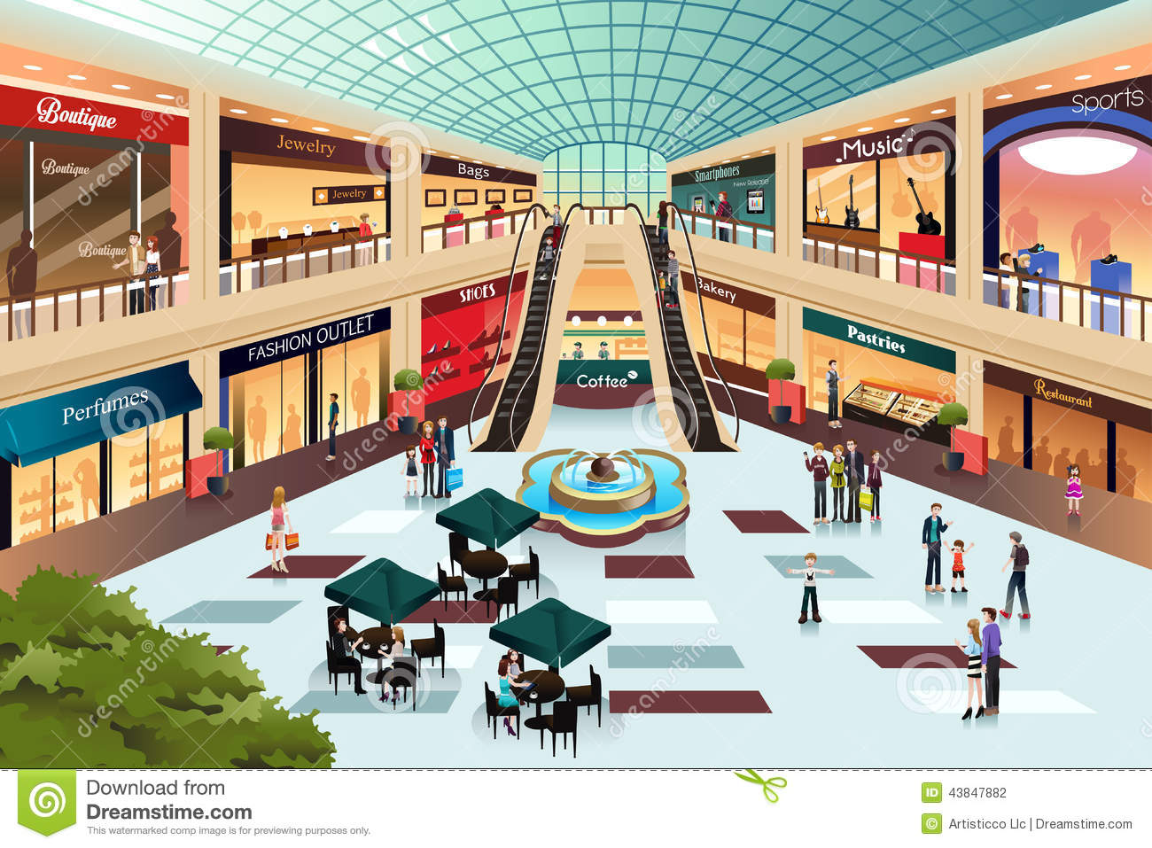 Scene Inside Shopping Mall Stock Vector - Image: 43847882