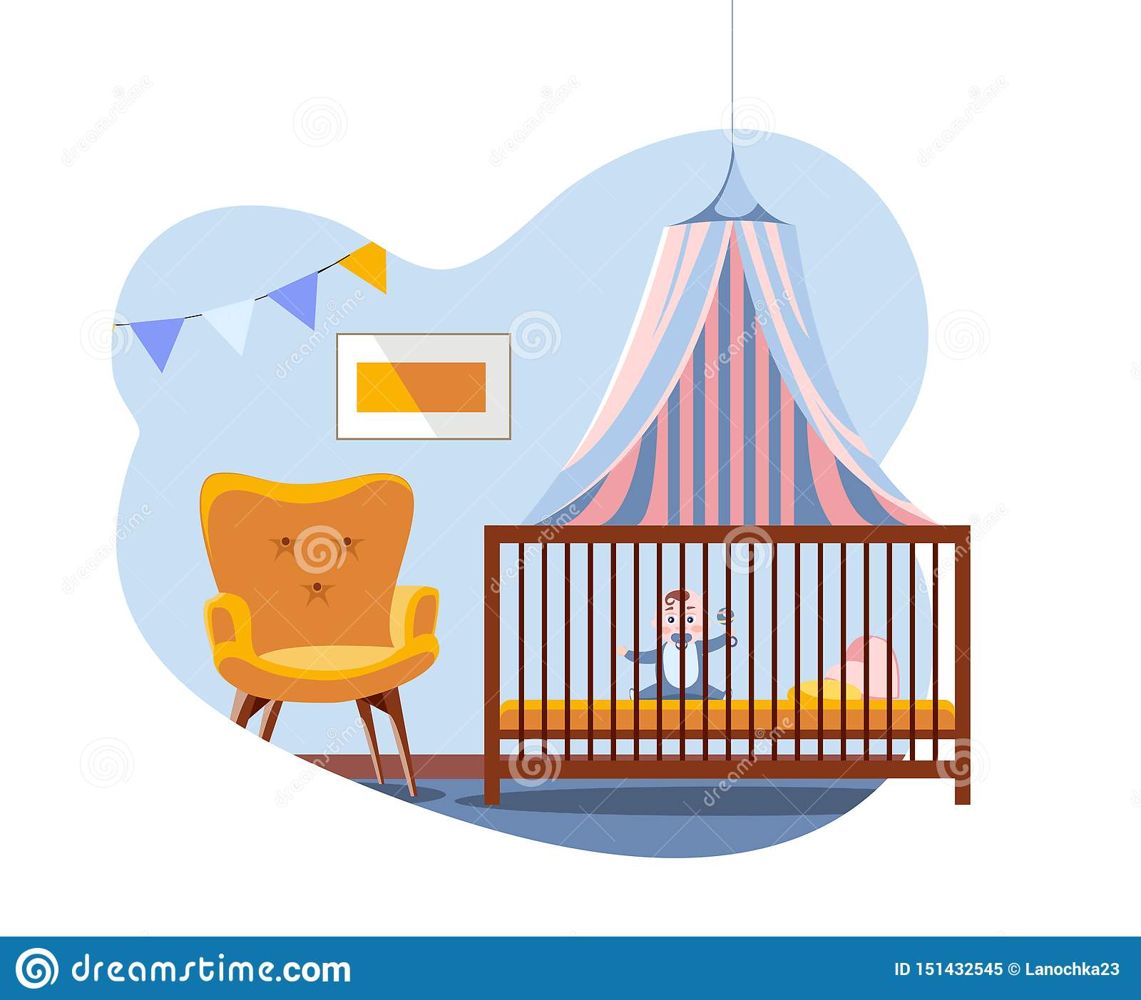 Scene In Interior Of The Nursery Baby In Bed Under A Canopy Next