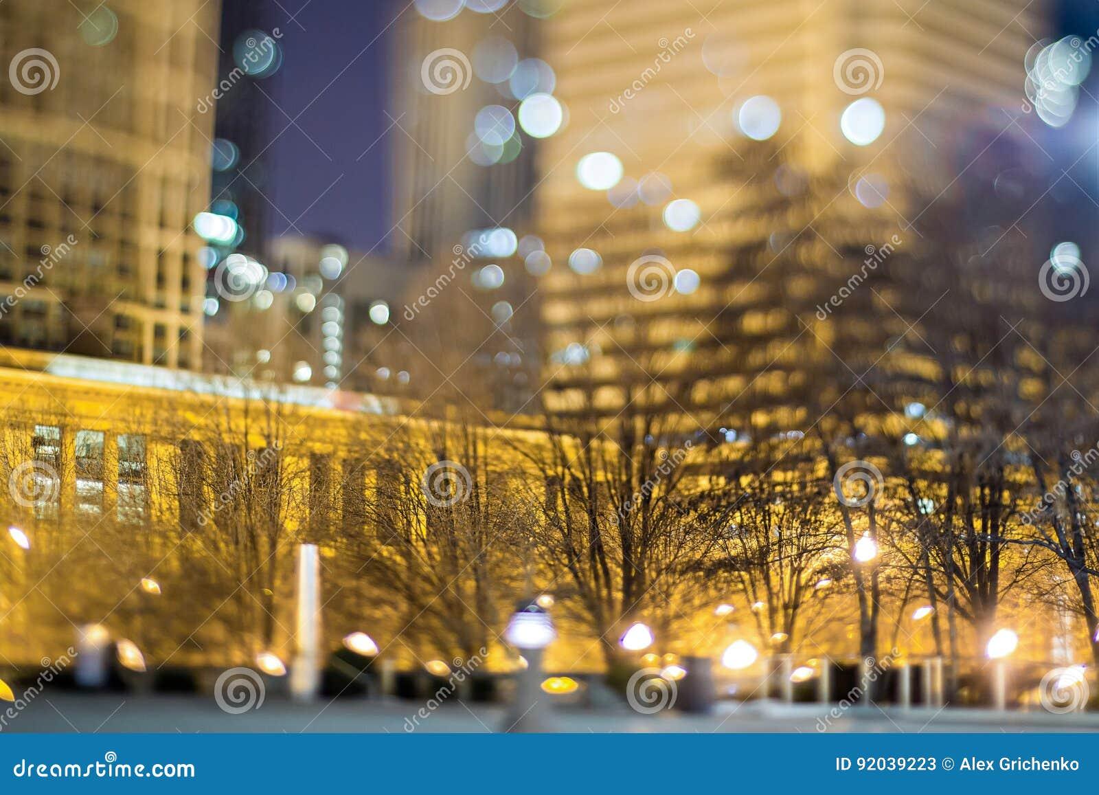 Scene intorno alla città di Chicago Illinois alla notte