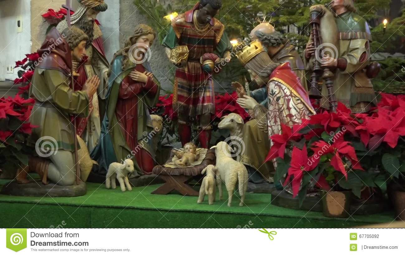 scene from miniature figures of people in the birth of jesus christ