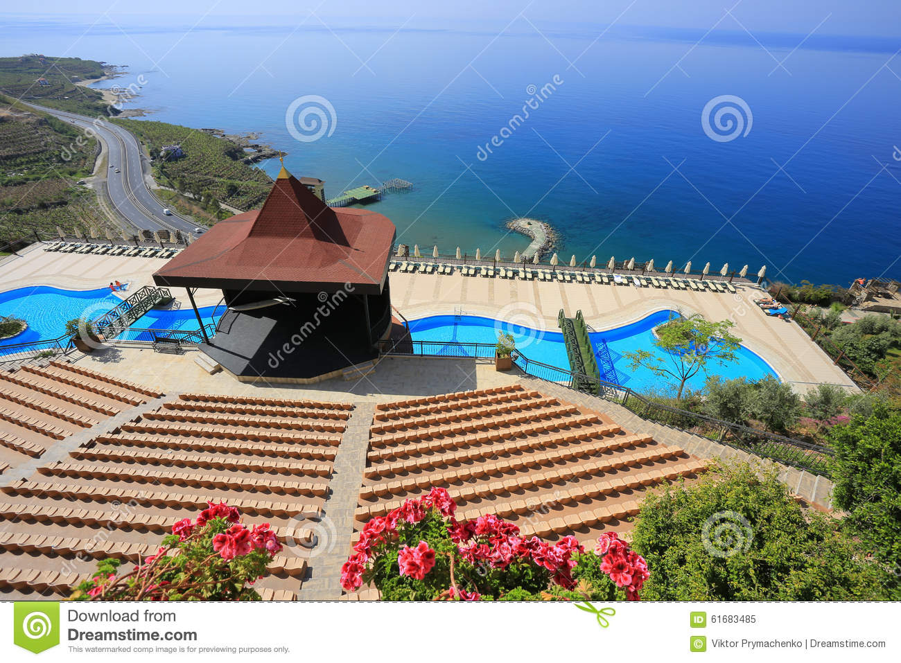 Swimming Pool Stage : Scene and outdoor swimming pool