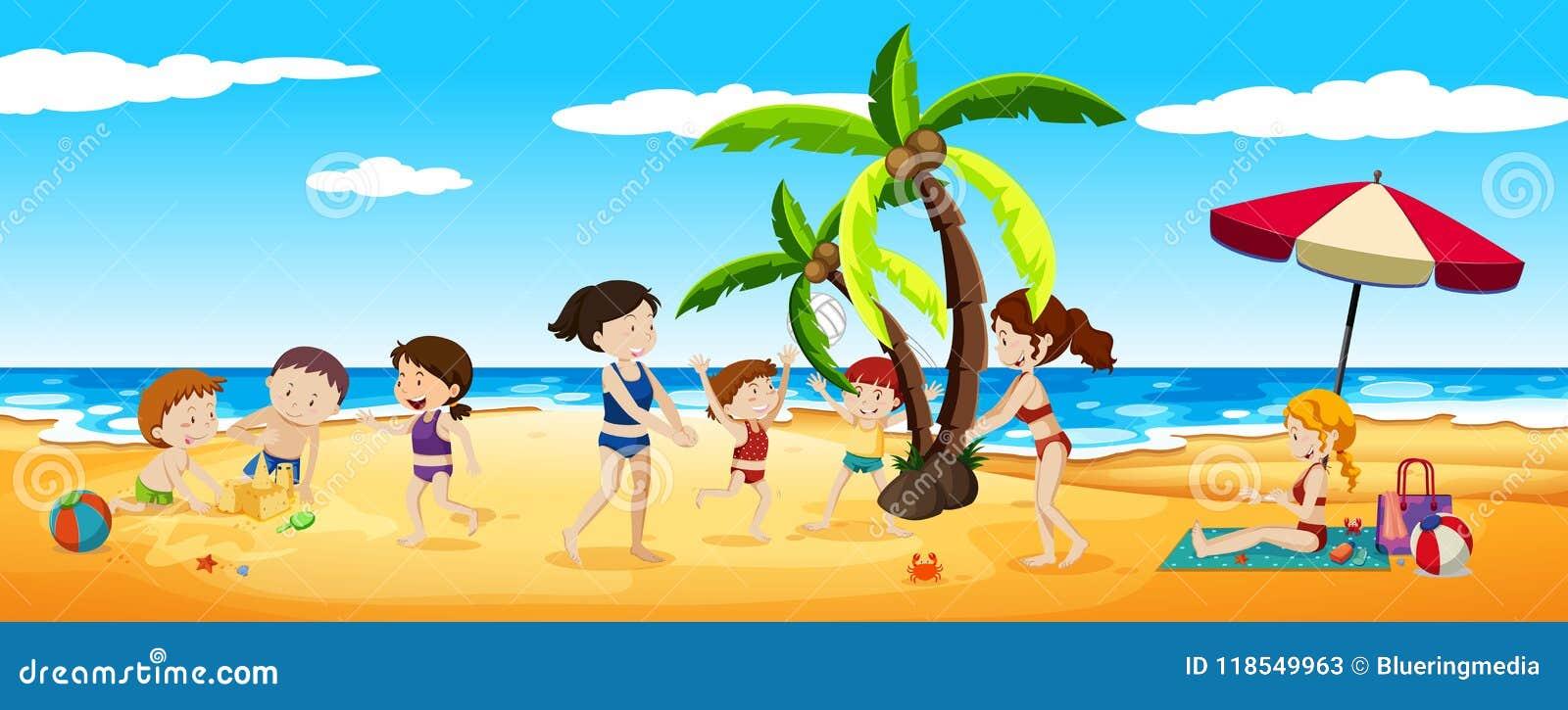 Scene Of People Having Fun At The Beach Stock Vector Illustration