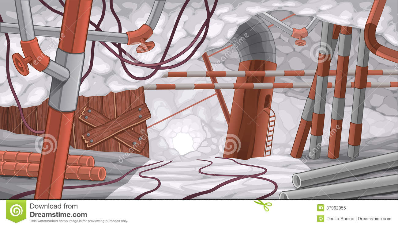 Scene with pipes and cables, underground.