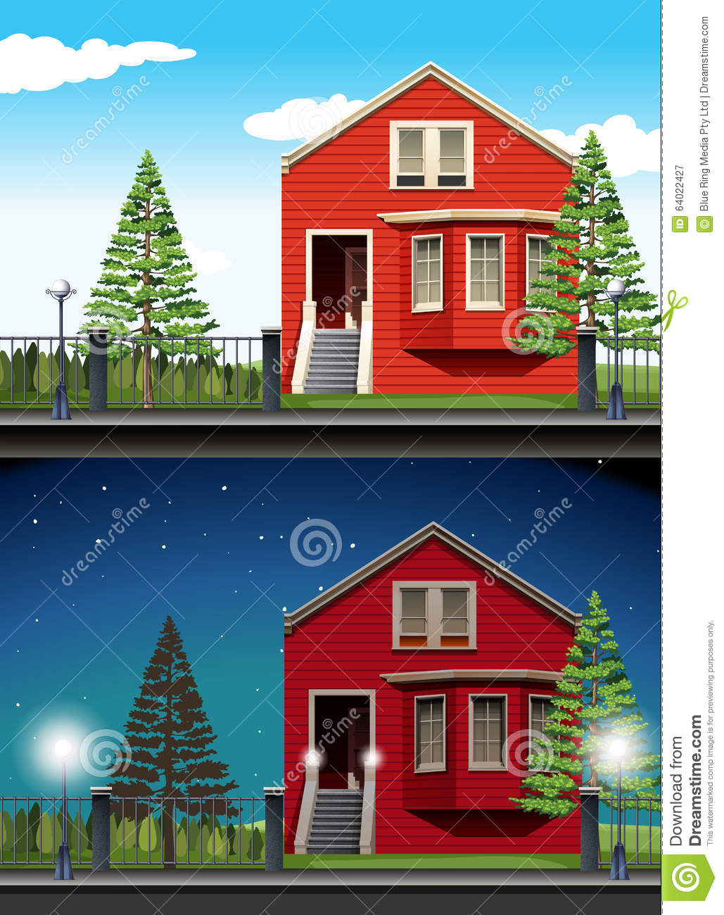 Scene of private house day and night stock vector image for Home daylight