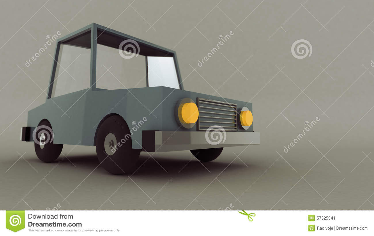 Scene Of A Retro Low Poly Toy Car Stock Illustration Illustration