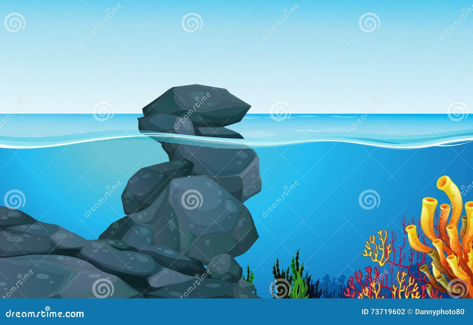 Scene with rocks under the ocean