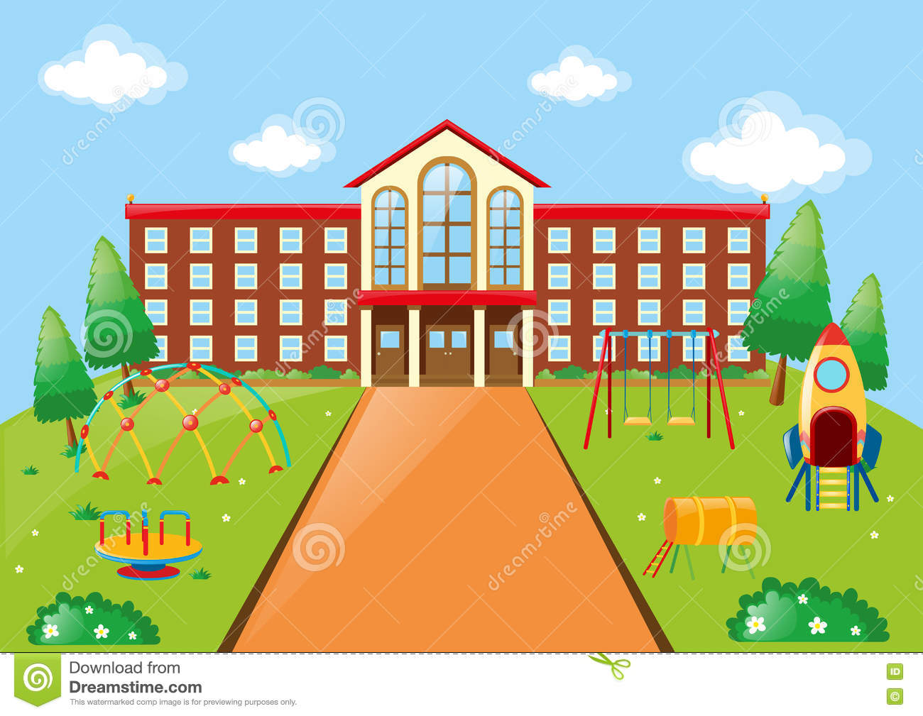 Scene With School Building And Playground Stock Vector Image 78804123