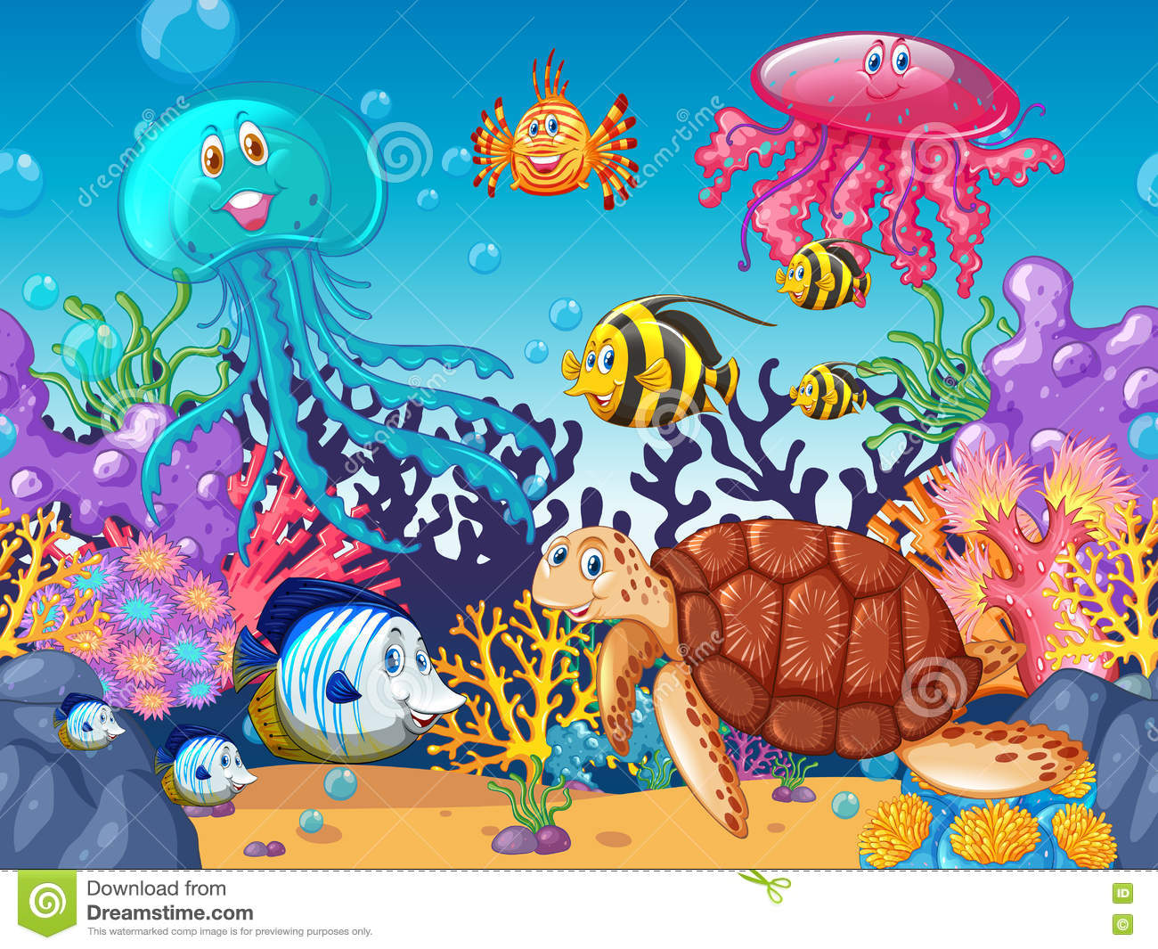 Scene With Sea Animals Under The Ocean Stock Vector Illustration