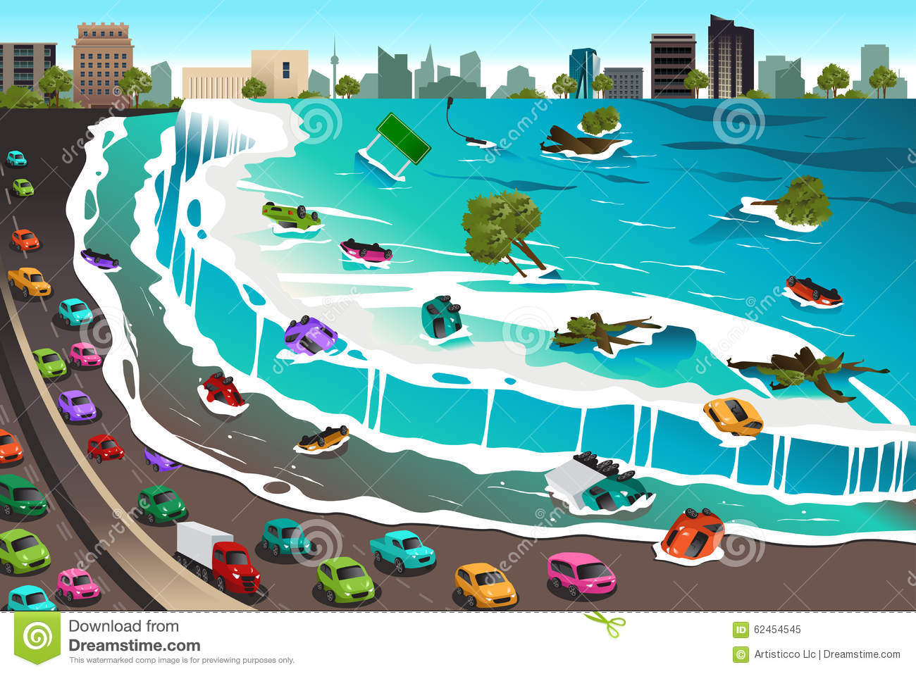 Scene of Tsunami stock vector. Illustration of natural ...