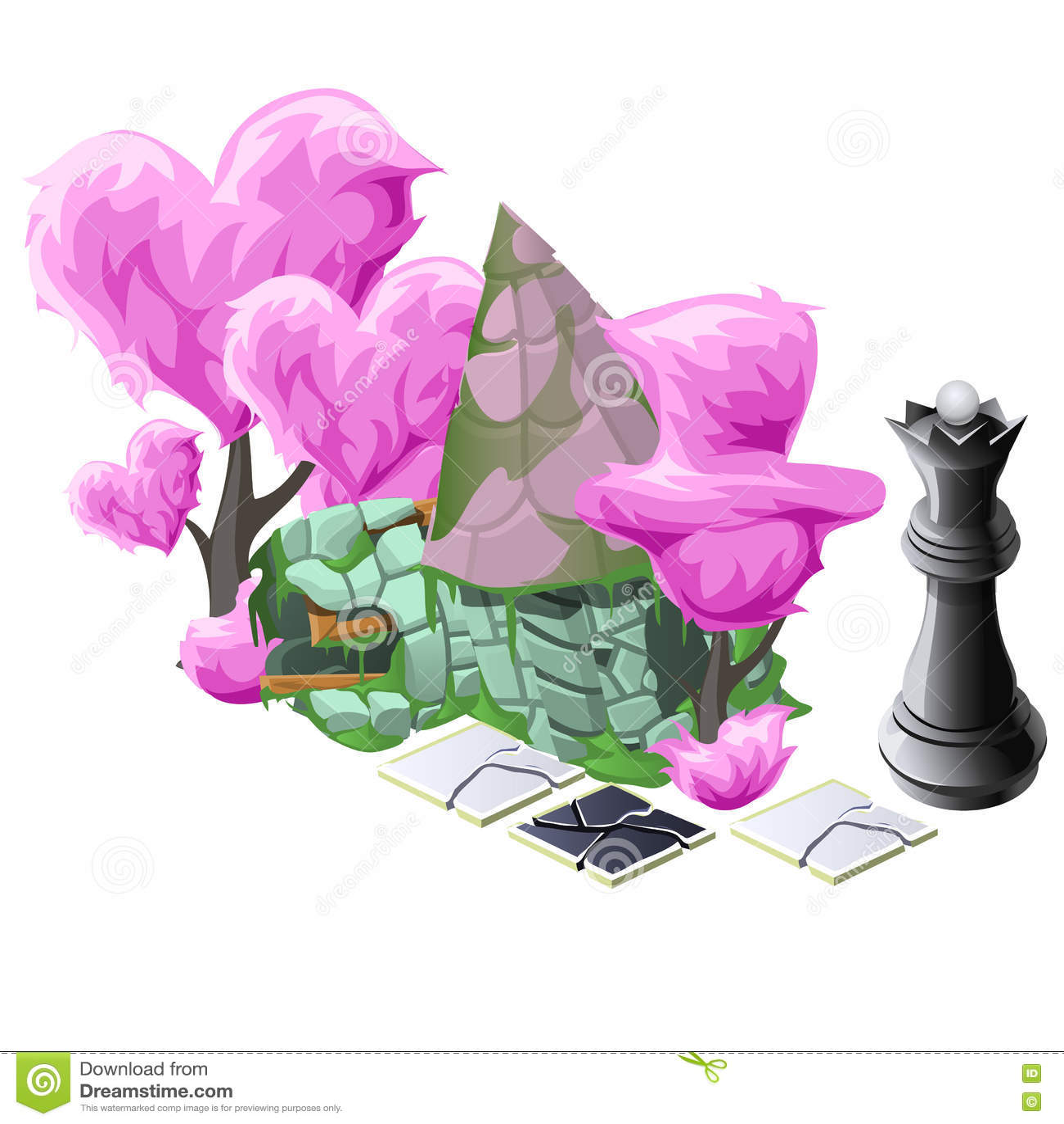 Sceneria z różowymi topiary drzewami, szachy i domem,