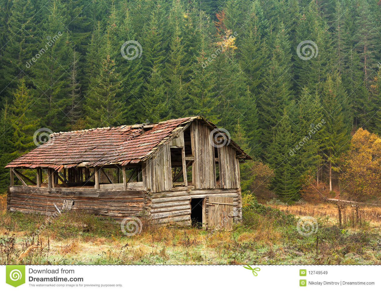 Scenery With Old Barn In The Mountains Stock Image Image