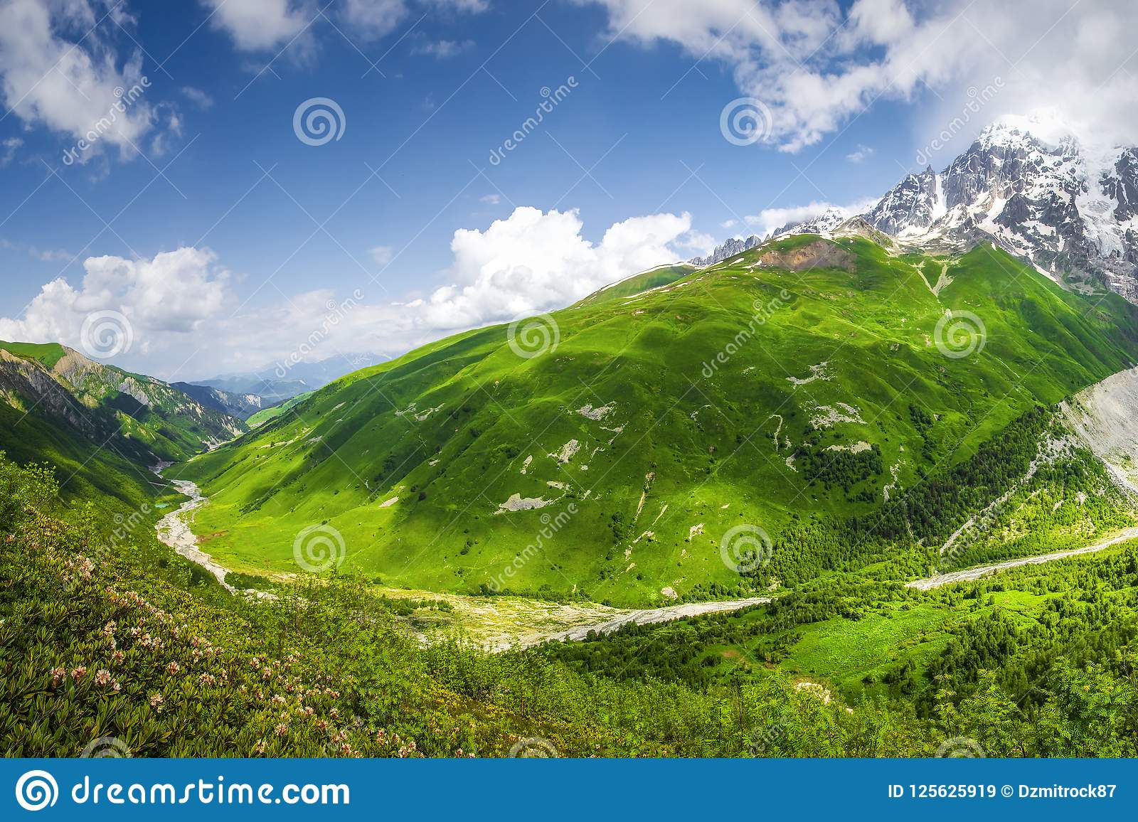 Scenery view on Svaneti mountains. Beautiful green highlands in Georgia