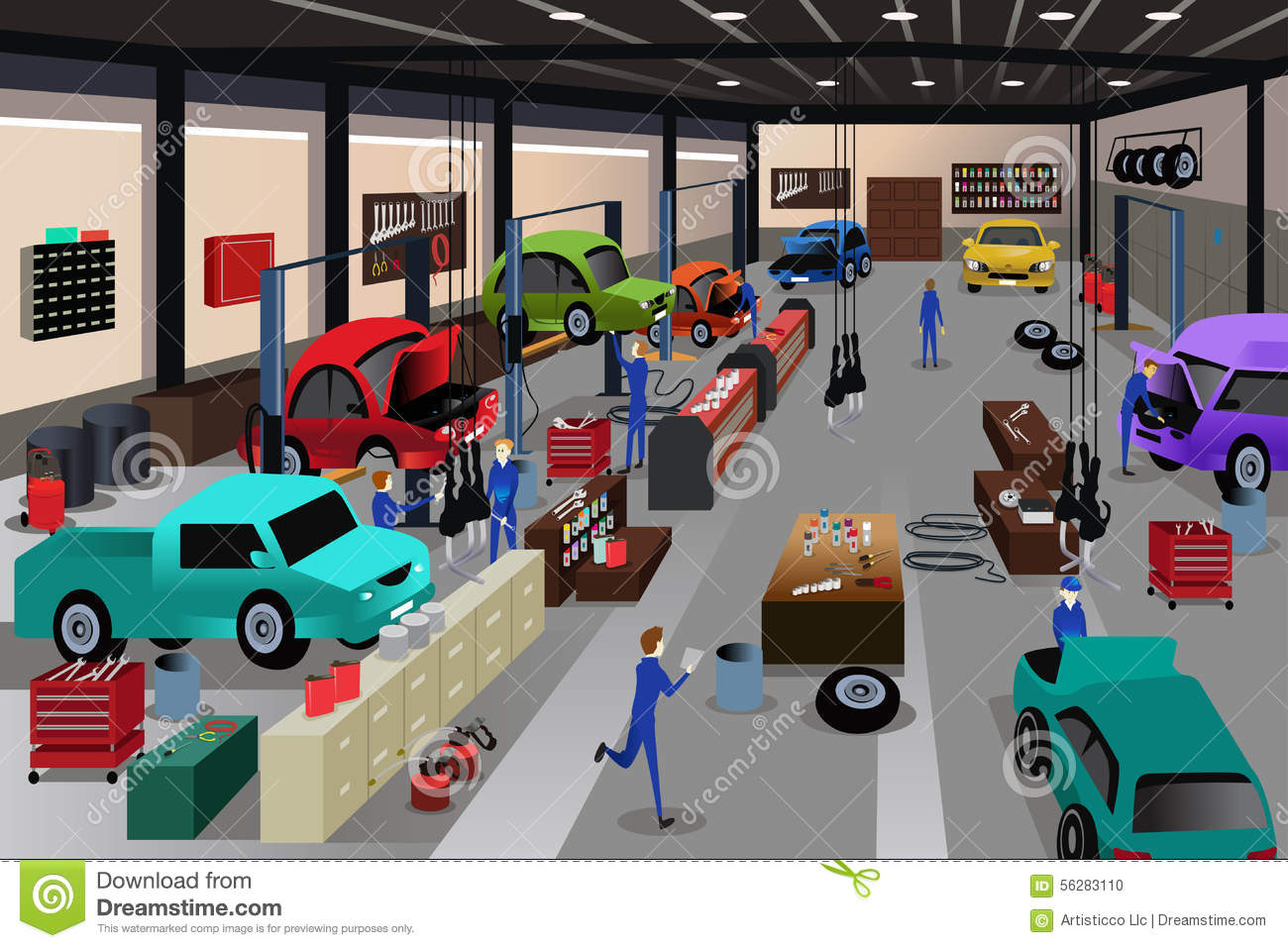 Scenes In An Auto Repair Shop Stock Illustration Image