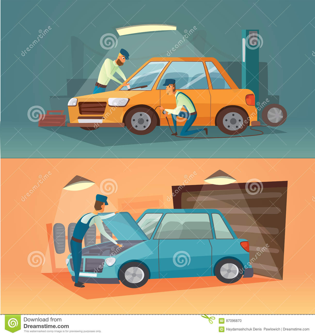 Colonial Auto Center >> Scenes Of Car Repair Vector Illustration. Workers In Service Tire And Auto Business. Cartoon ...