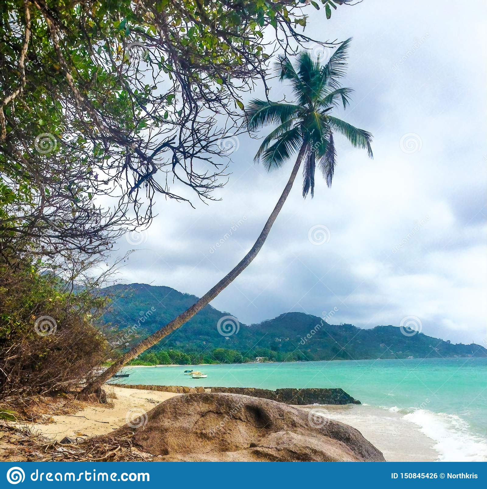 Seychelles Island Beaches: Scenic Beach View, Mahe Island, Seychelles Stock Photo
