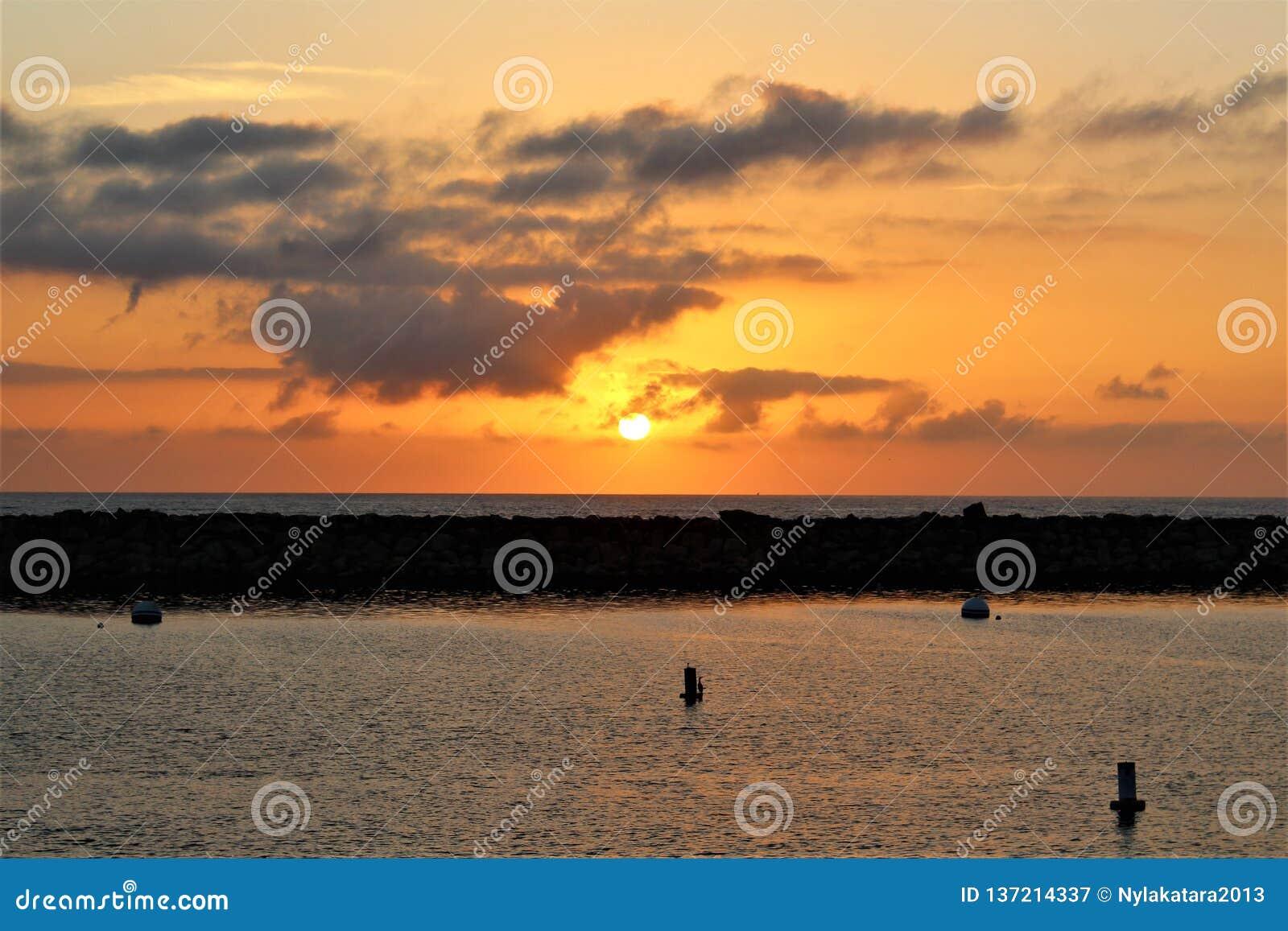 Portifino California ocean side sunset in Redondo Beach, California, United States