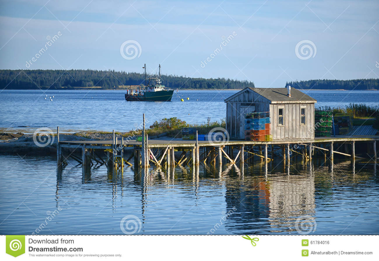 Scenic Maine Fishing Village Royalty Free Stock