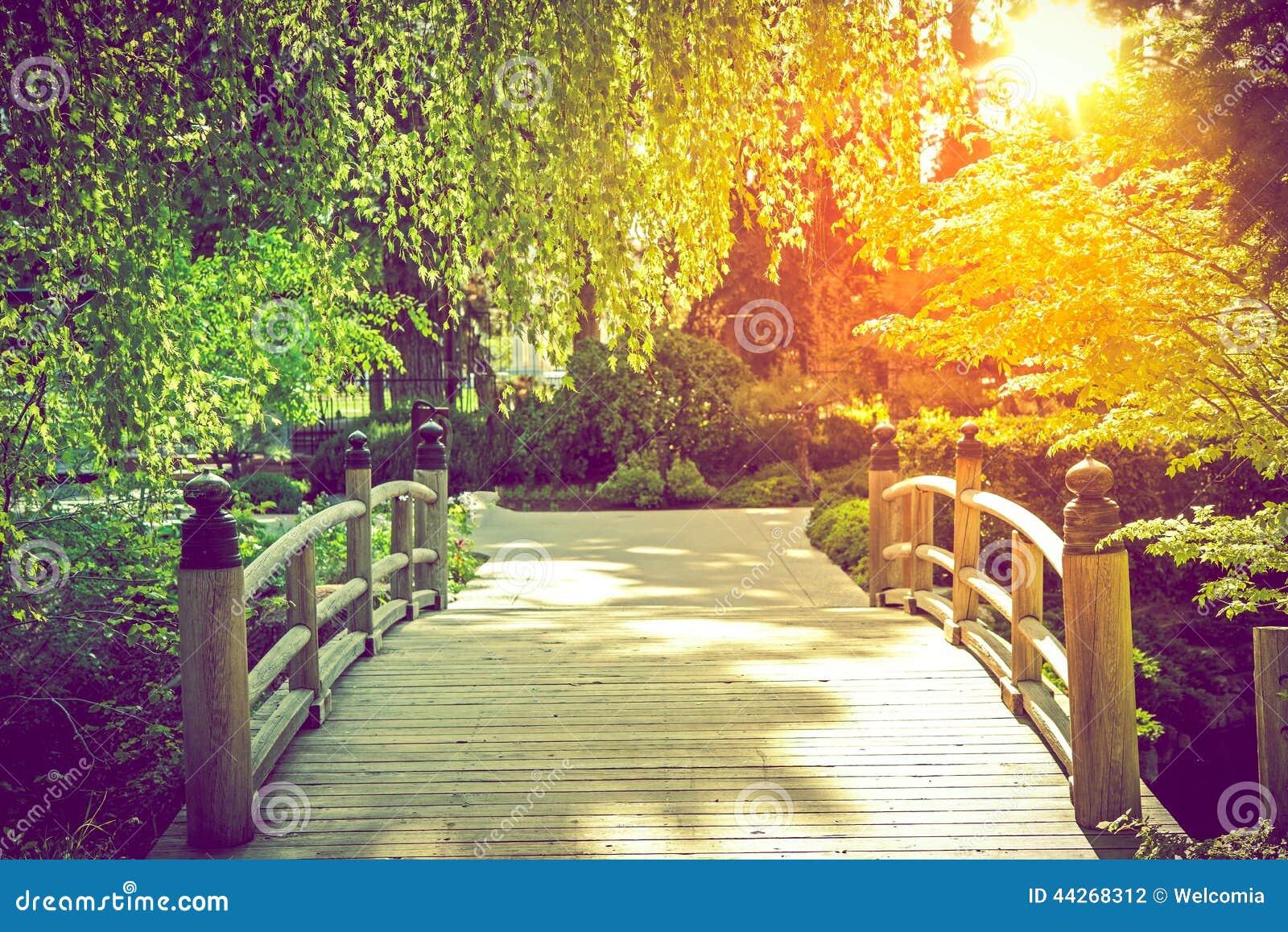 Scenic Garden Bridge Stock Photo Image 44268312