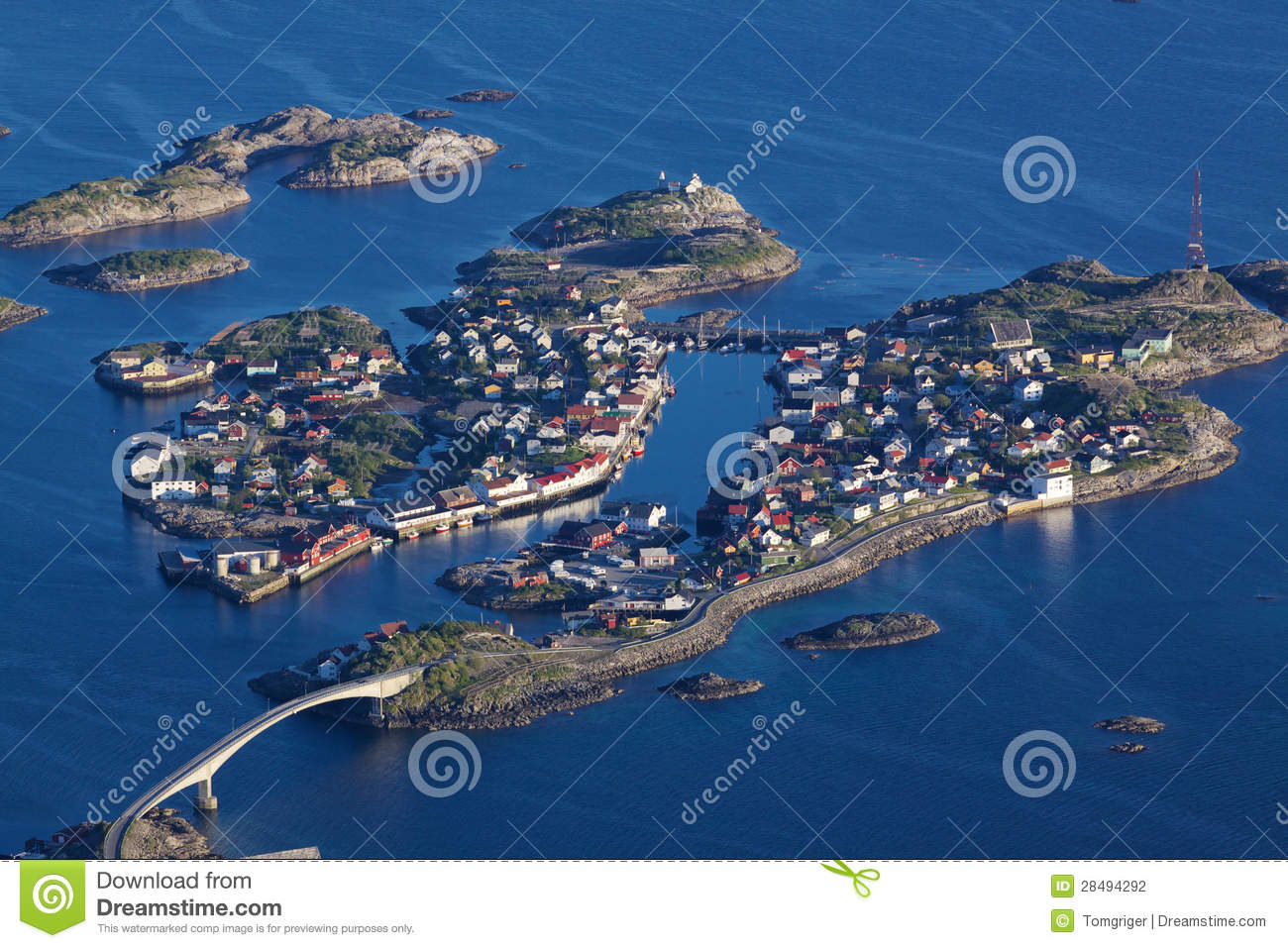 Scenic town of Henningsvaer on Lofoten islands in Norway with large ...