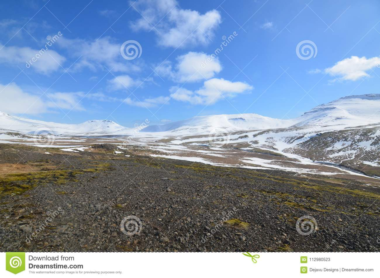 Scenic icelandic glaciers with blue skies landscape