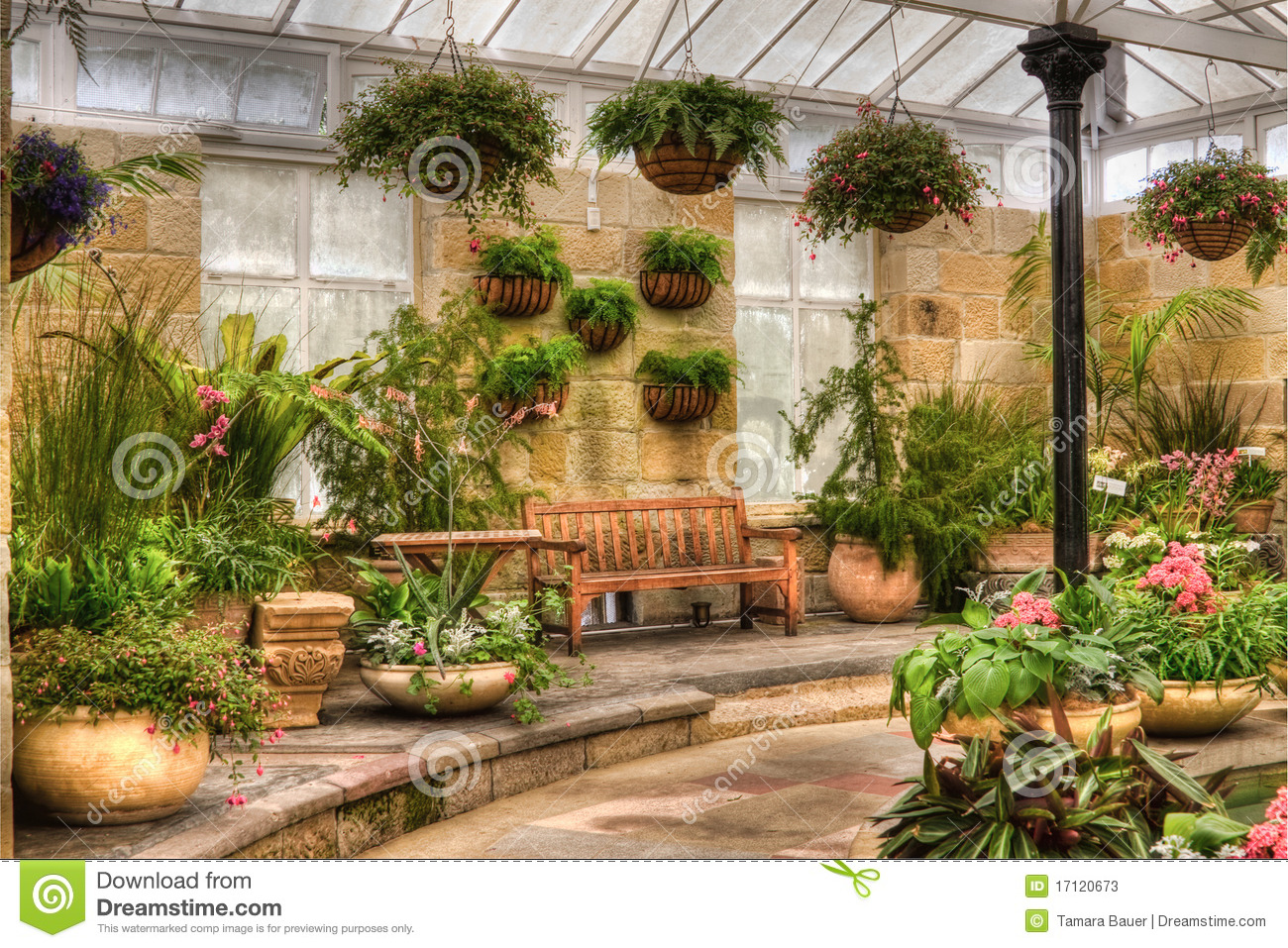 Scenic indoor garden area stock image image of blooming for Indoor gardening videos