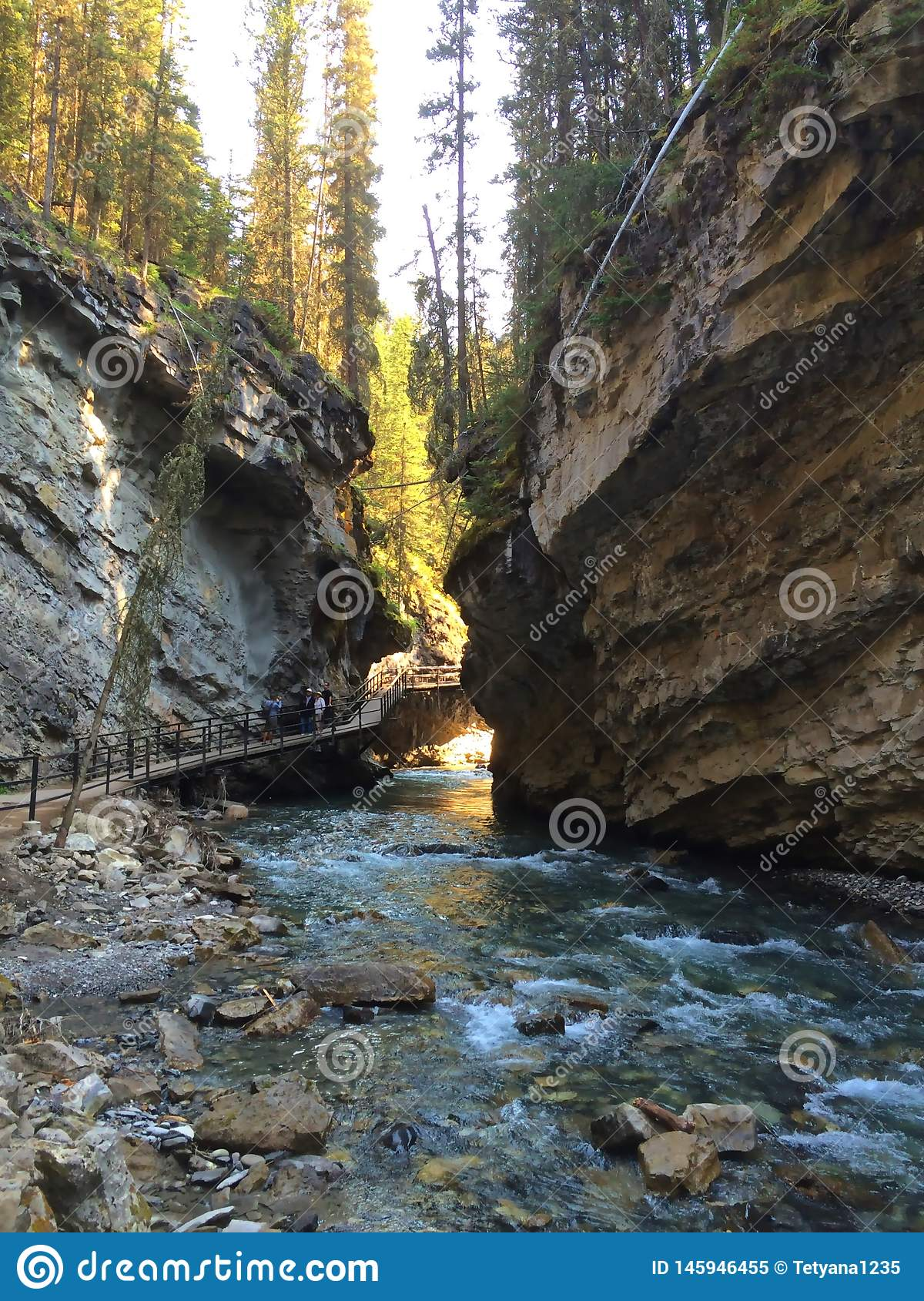 Scenic Johnston Canyon trail in Banff National Park