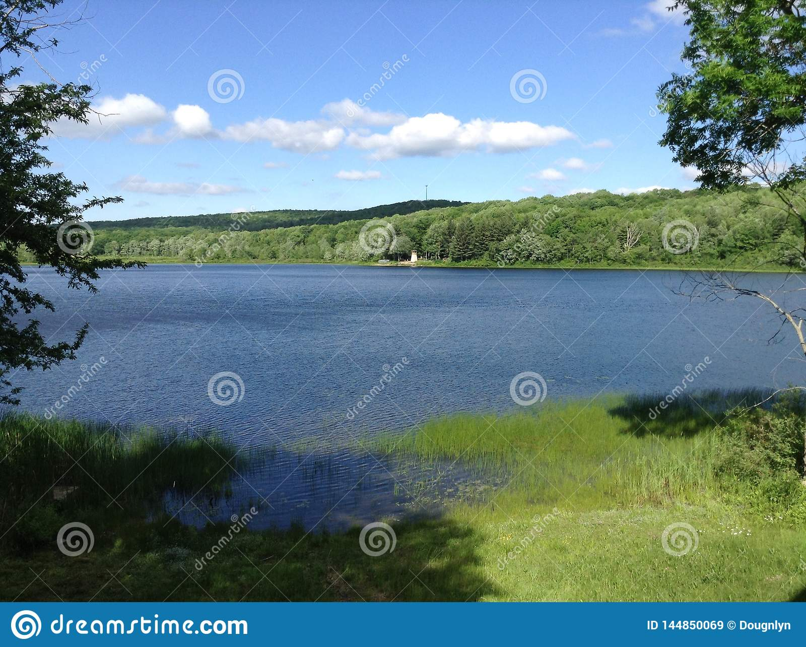Scenic Lake Panorama on a Calm Summer Day in Maine USA
