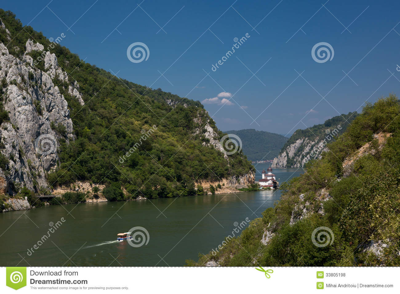 Scenic landscape of the Danube valley canyon