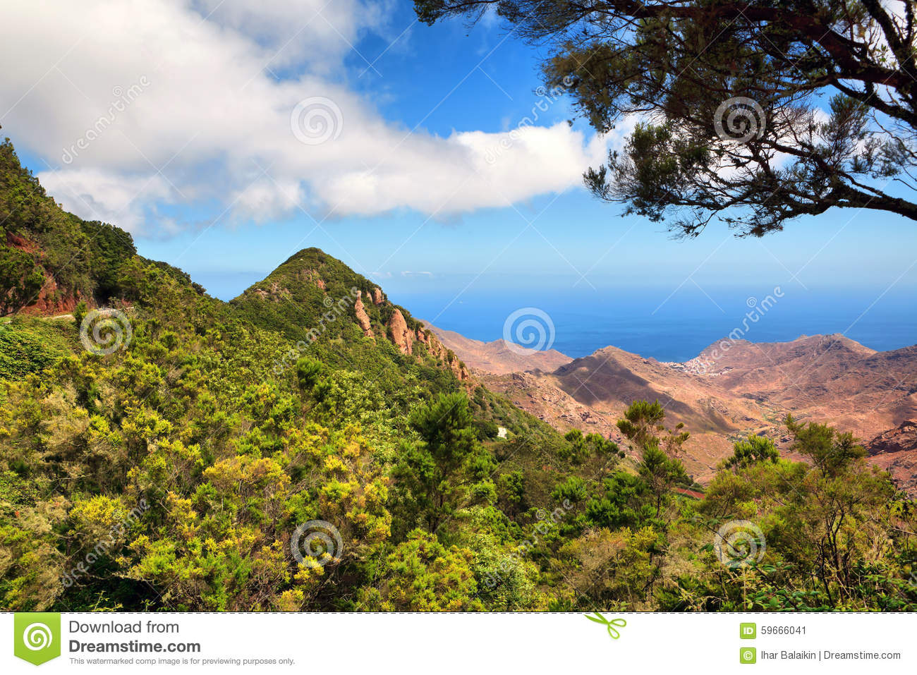 ... of mountain valley with blue sky (Tenerife, Canary islands, Spain