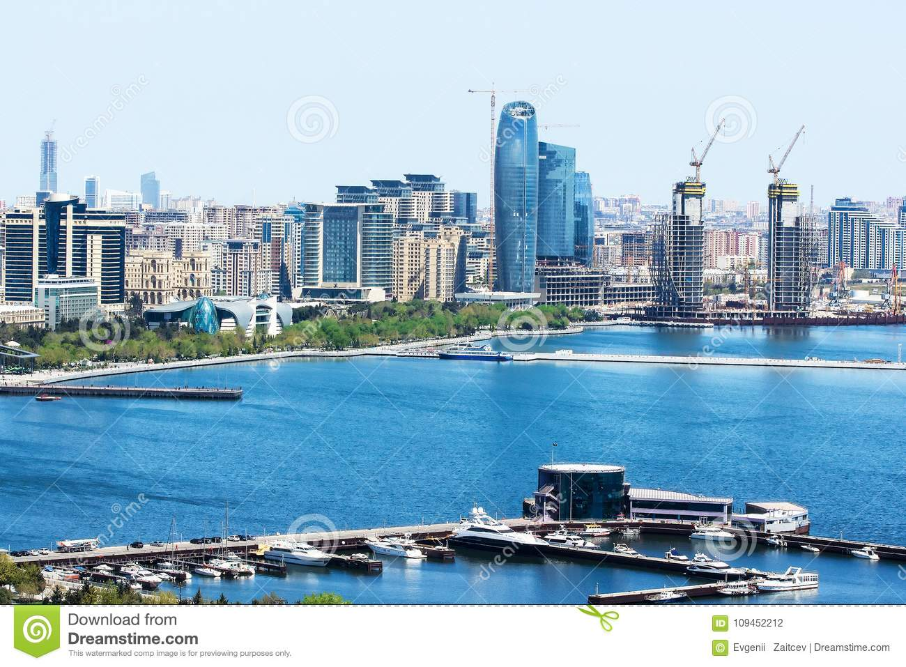 Scenic landscape of urban skyline Baku with numerous modern skyscrapers. Baku is the capital and largest city of Azerbaijan