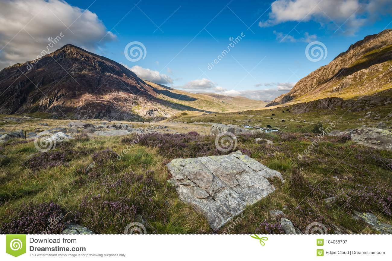 Scenic Llyn Ogwen Valley at Summer in Snowdonia National Park, W