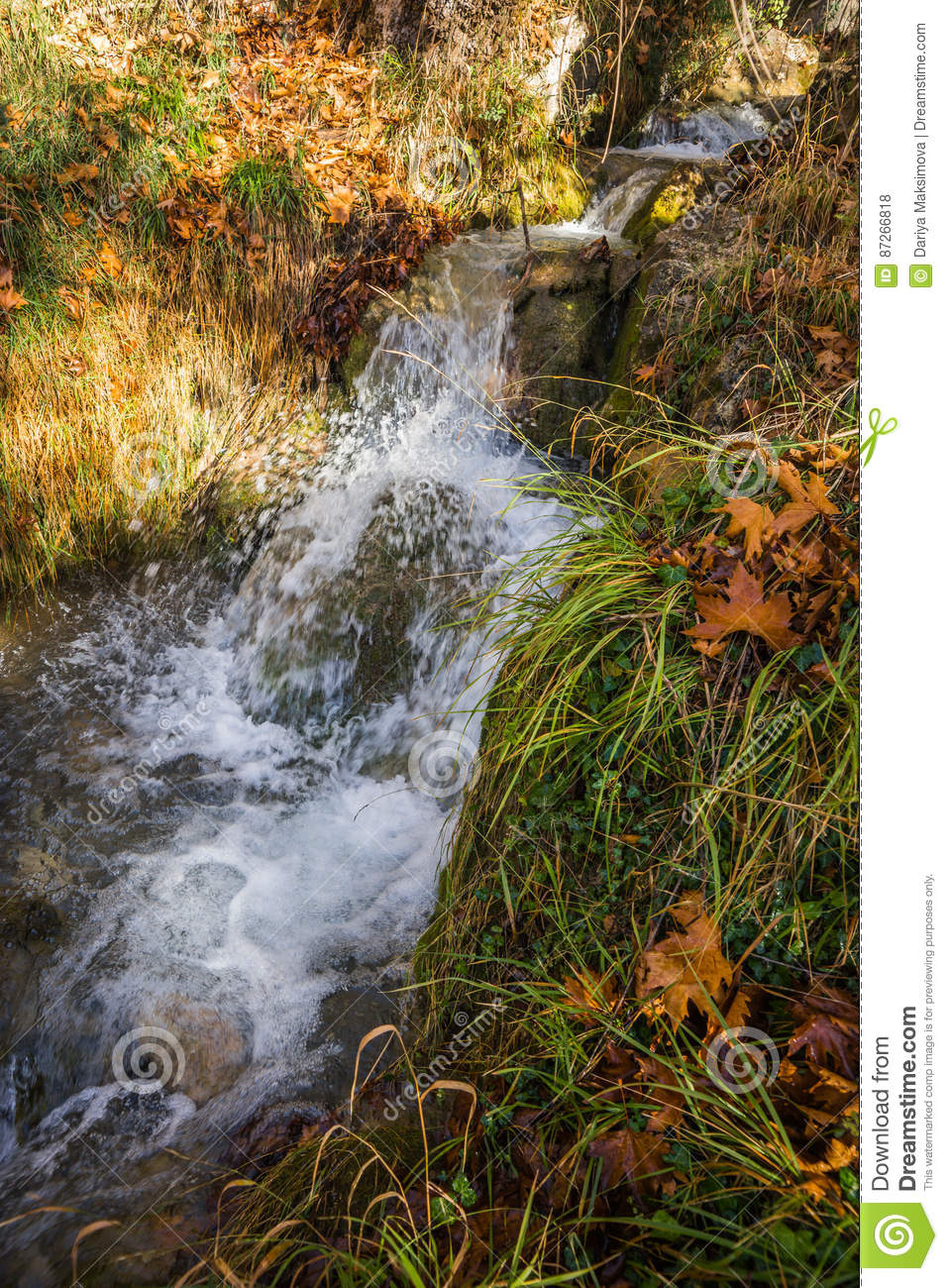 Scenic mountain autumn landscape with river and waterfalls, P
