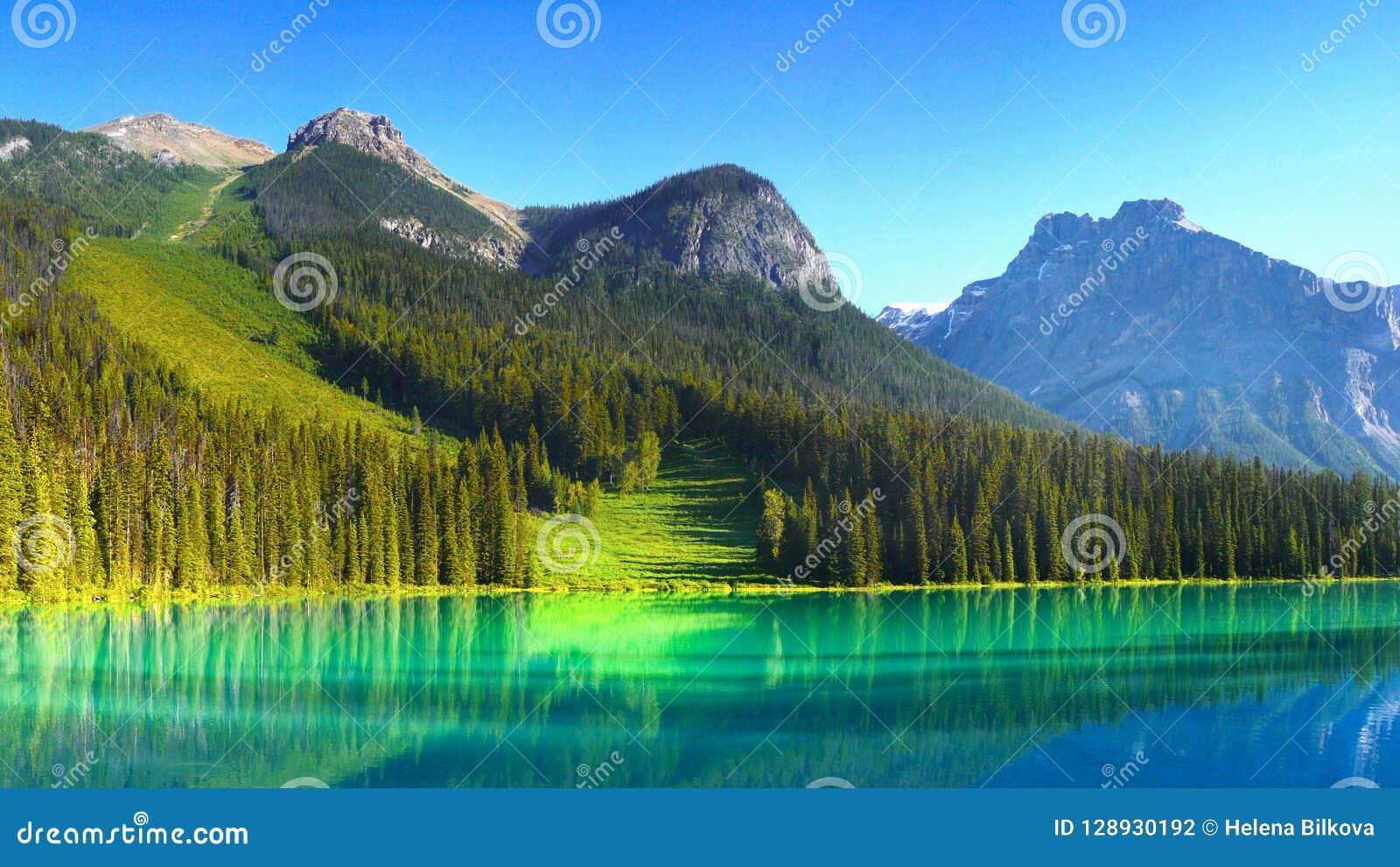 Canadian Rockies and Lake, Sunrise Scenery