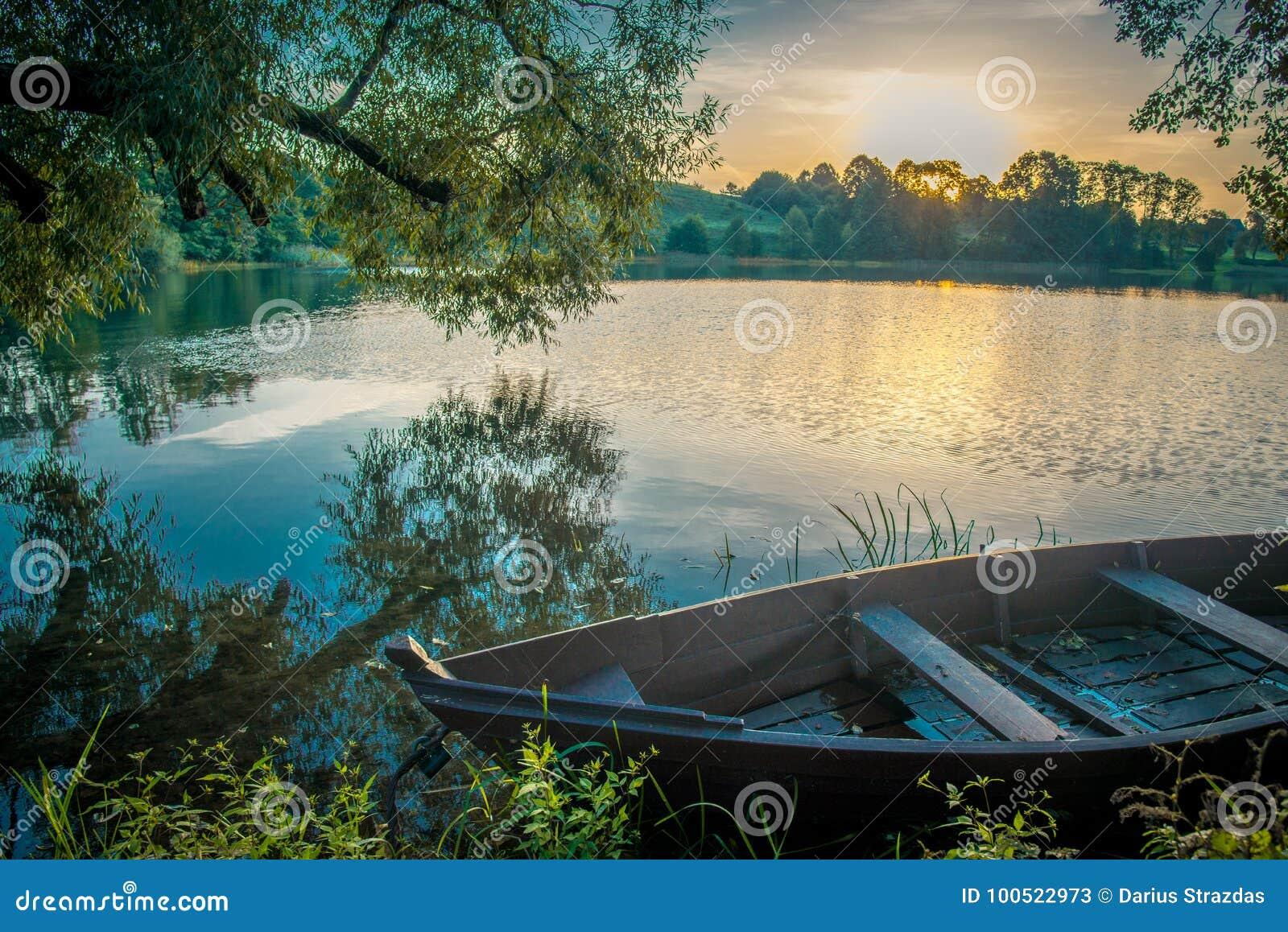 Scenic nature landscape near lake