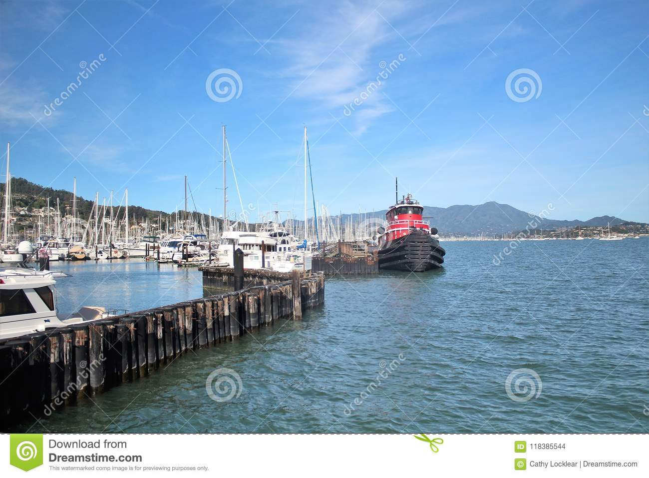 Ocean And Mountain Views Along A Boat Harbor In Sausalito
