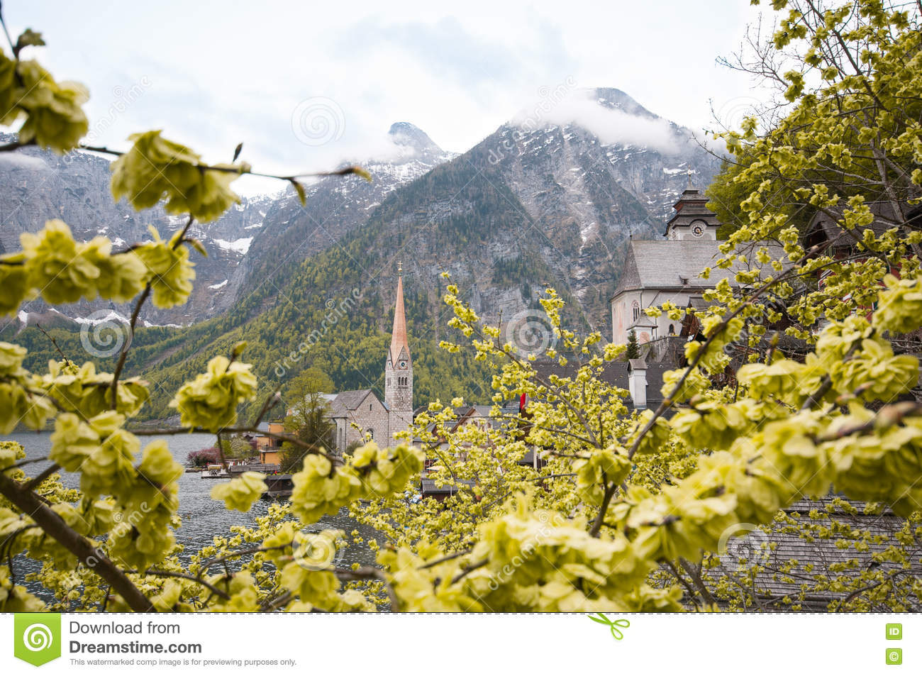 Scenic picture-postcard view of famous Hallstatt mountain village with Hallstaetter See in the Austrian Alps, region of