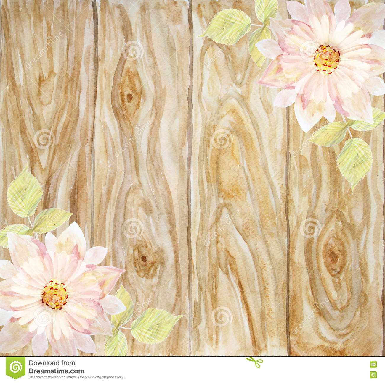 Scenic Pink Flower On A Background Of Wooden Boards Handmade
