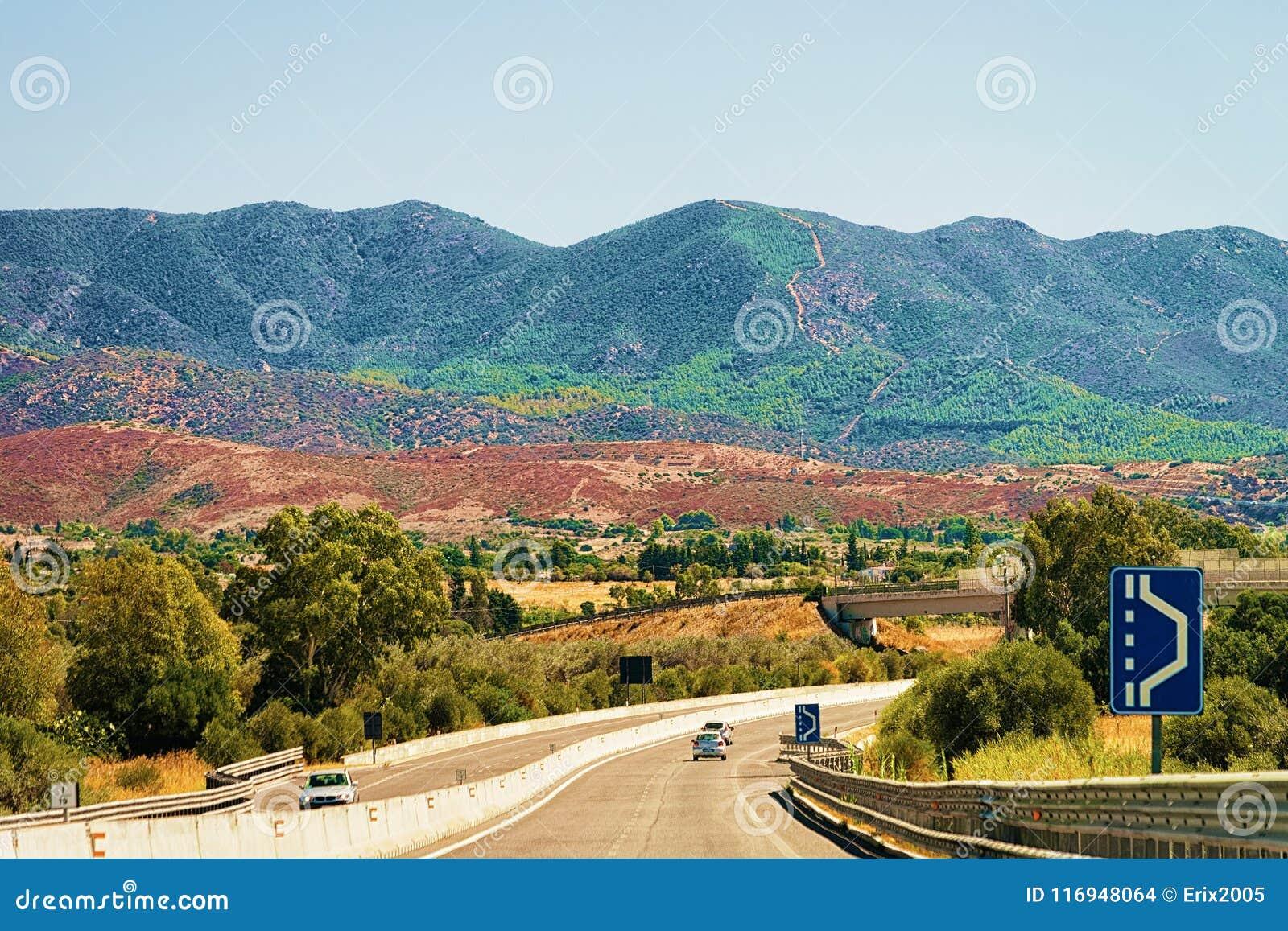 Scenic road in Cagliari on Sardinia island