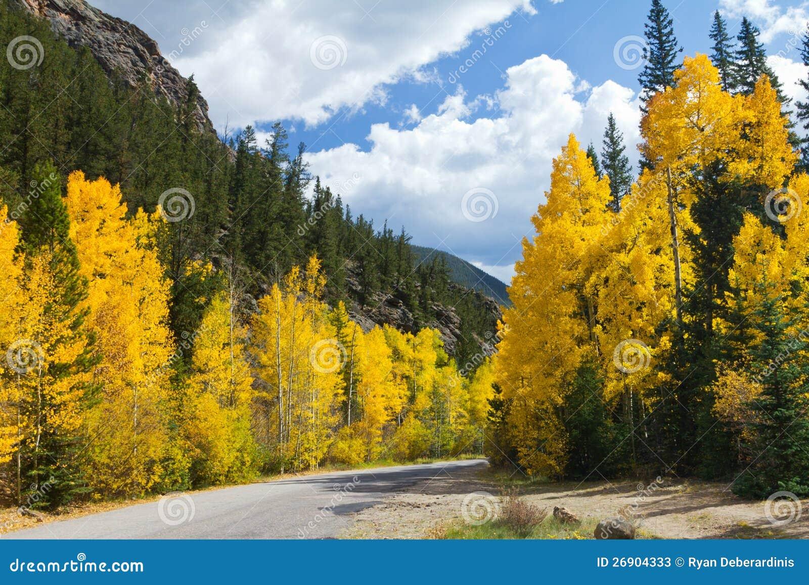 Download Scenic Road In Colorado Fall Aspens Stock Image - Image of autumn, hillside: 26904333