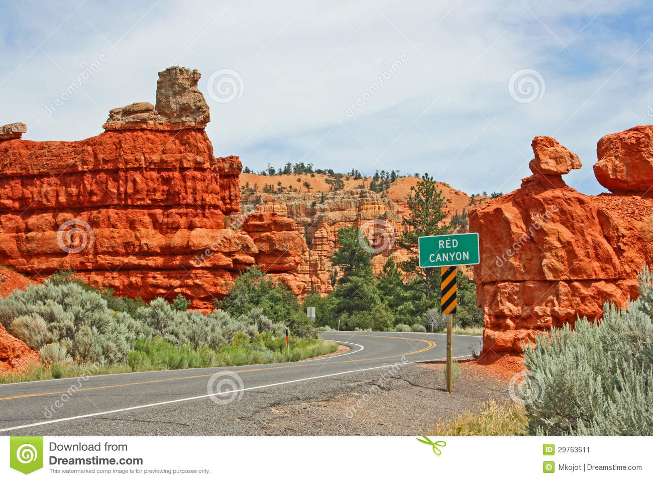 The Road In Red Canyon Utah Stock Image Image 29763611